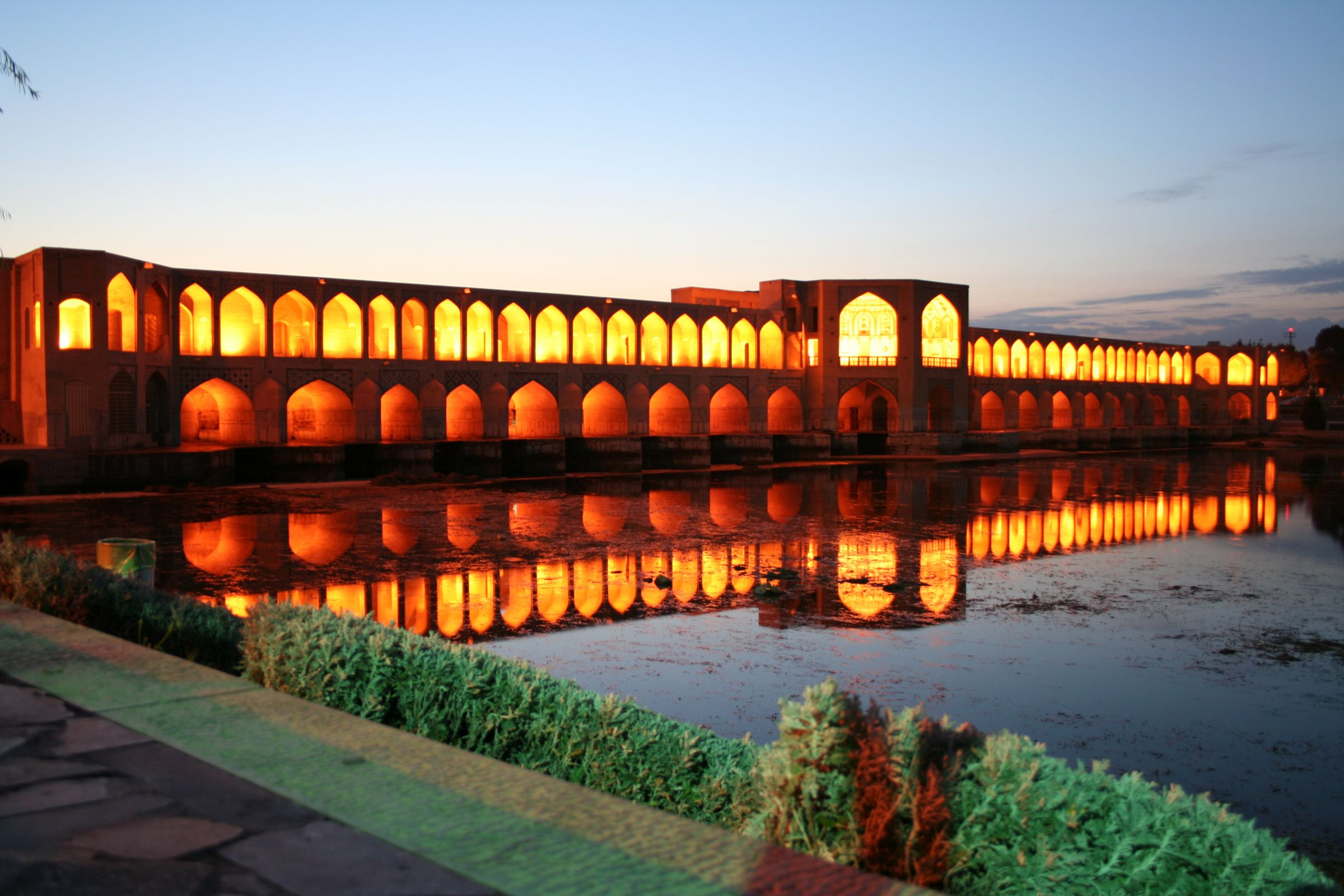 Khaji Brigje at night, Isfahan, Iran