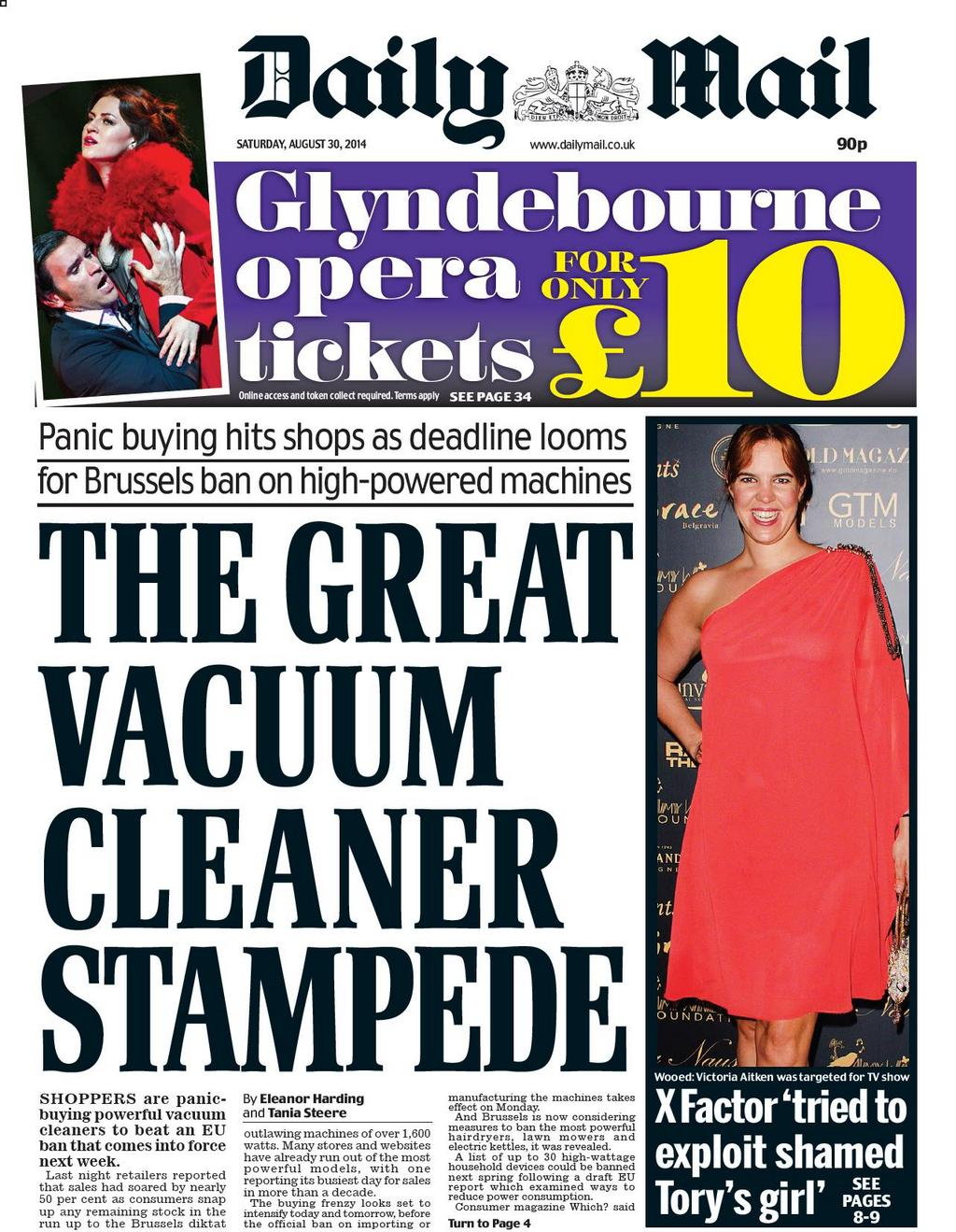 Daily Mail front page aug 30 2014