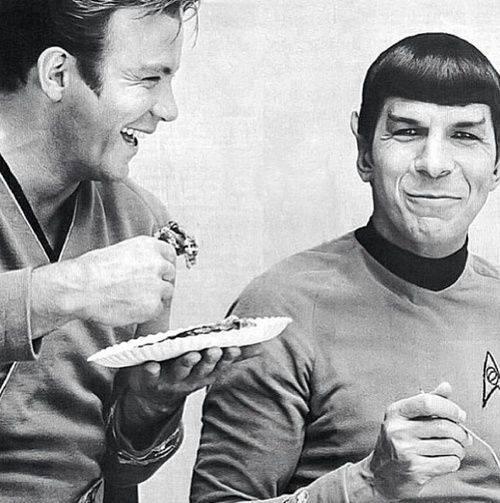 Shatner and Nimoy on-set