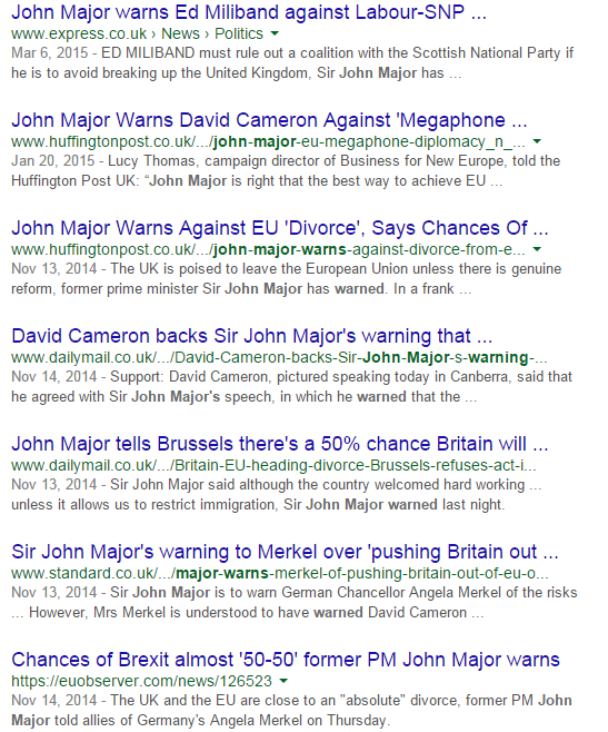 Google Search results for 'John Major warns'